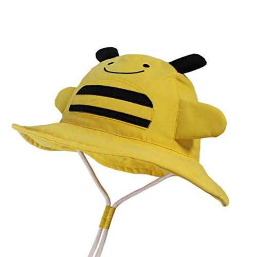LANGZHEN Kids Sun Protection hat Cute Animals Designed Toddler Boys Girls Bucket hat (Yellow - bee, XL: 4T-8T (54cm /21.3