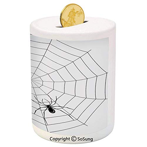 Spider Web Ceramic Piggy Bank,Toxic Poisonous Insect Thread Crawly Malicious Bug Halloween Character Design Decorative 3D Printed Ceramic Coin Bank Money Box for Kids & Adults,Black White