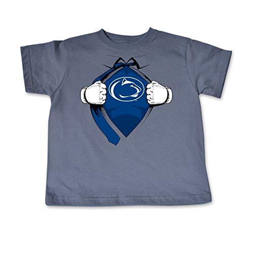 (NCAA Penn State Nittany Lions Toddler Short Sleeve Super Hero Tee, 2 Toddler, Pewter)