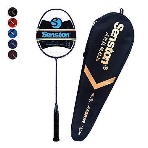 Senston Professional Woven Badminton Racket 100% Full Carbon High-Grade Badminton Racquet Including Racket Cover New Blue - One Carlton Light