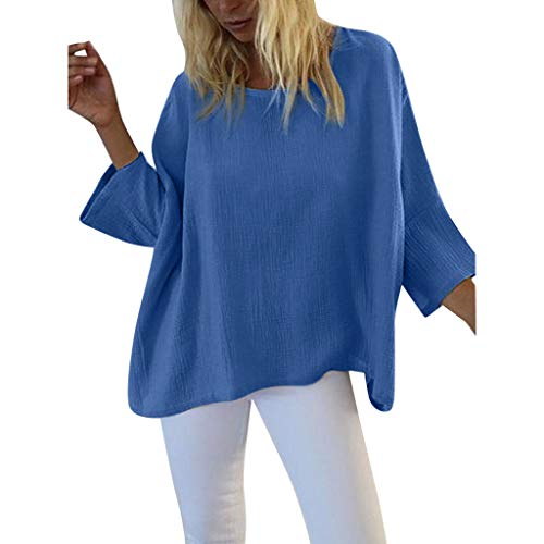 Aniywn Plus Size Casual 3/4 Sleeve Tops, Women Round Neck Pure Color Casual Tunic T-Shirt Summer Blouse Blue ()