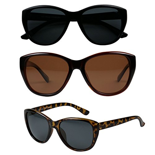 ShadyVEU - Classic Cat Eye POLARIZED Minimalist Fashion 100% UV Sunglasses (3 Pack Set, 1 Black / 1 Tortoise / 1 - One Sunglasses Polarized