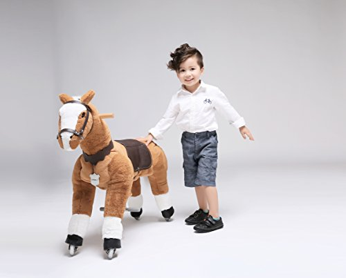 UFREE Horse Action Pony, Ride on Toy, Mechanical Moving Horse, Giddyup for Children 3 to 9 Years Old, Height 36 Inch (White Mane & Tail) by UFREE
