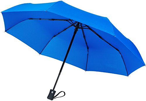 Crown Coast Blue Travel Umbrella - 60 MPH Windproof Lightweight for Men Women and Kids, Compact Travel Umbrellas in Multiple - Most Common Hat Size