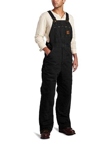 Carhartt Men's Quilt Lined Sandstone Bib Overalls,Black,36 x 30