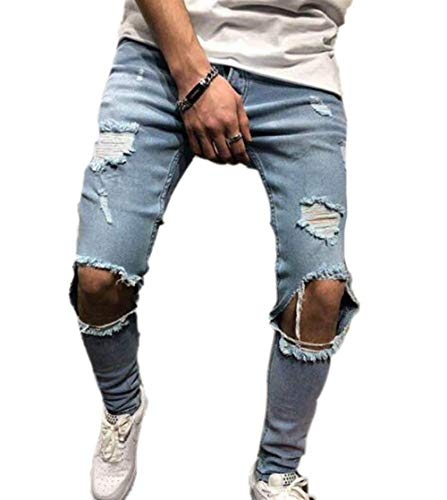 Stropati Fit Uomo Strappati Elasticizzati Slim Skinny Jeans Hellblau Pantaloni qf7wwR