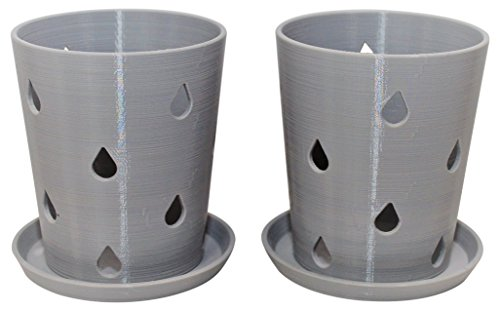 2 Pack Orchid Pots and Tray, Gray, 3.5