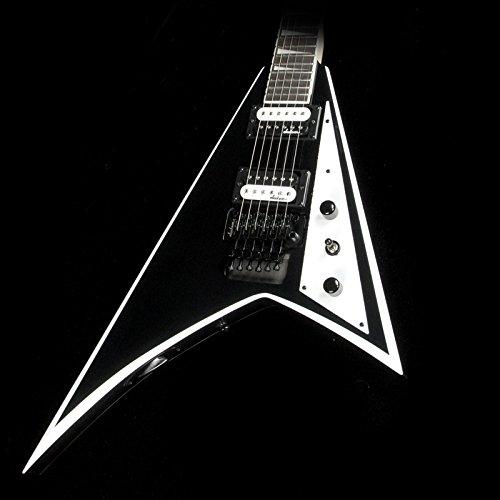 Jackson JS32 Rhoads Electric Guitar, 24 Frets, Bolt-On Neck, Rosewood Fingerboard, Satin, Black with White Bevels