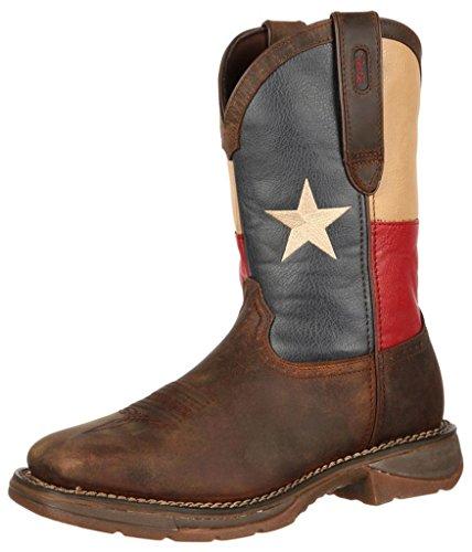 Durango Men's DB021 Western Boot, Dark Brown/Texas Flag, 8 M US (Mens Flag Leather Rebel)