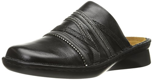 Image of Naot Women's Lyric Mule, Black Madras Leather/Metallic Road Leather/Black Sequin Nubuck, 38 EU/6.5-7 M US