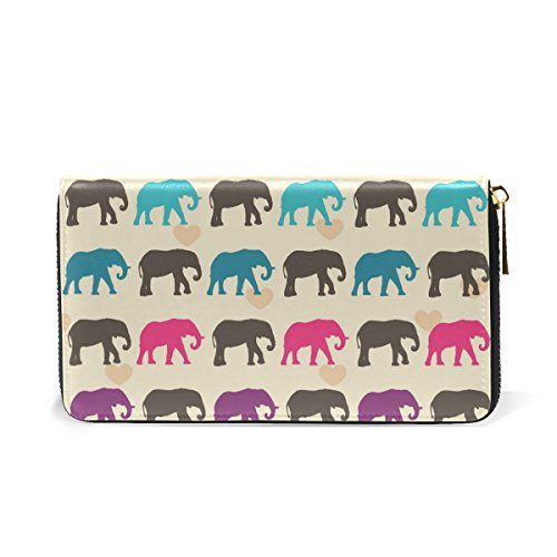 And Womens Clutch Purses Zip Around Handbags Colorful Elephants Wallet TIZORAX Organizer Rqx6wWYERn