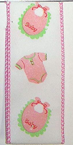 Authentic Pink Ribbon - Ribbon Art Craft Decoration 5 Yds. Pink Baby Girl Shower Bibs Wire Edge Ribbon 1 1/2