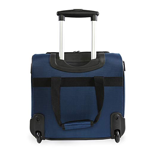 41F%2B8aPKslL - Perry Ellis Men's Excess 9-Pocket Underseat Rolling Tote Carry-on Bag Travel, Navy, One Size