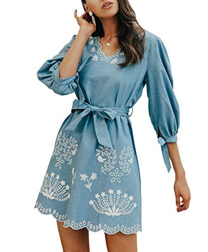 BerryGo Women's Casual Embroidered Denim Dress V Neck Belted Shirt Dress Blue