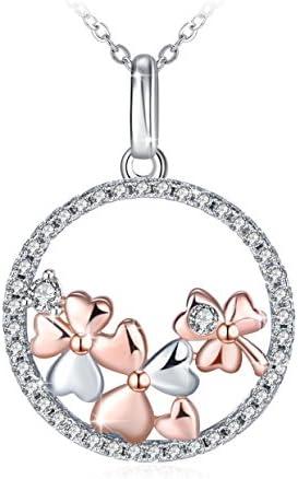J.Ros/ée Argent 925 Bijoux Femme//Fille Cadeaux Saint Valentin pour Femme avec Paquet ExquisLarbre de Vie Collier 5A Zirconium cubique Blanc Cha/îne 45+5cm