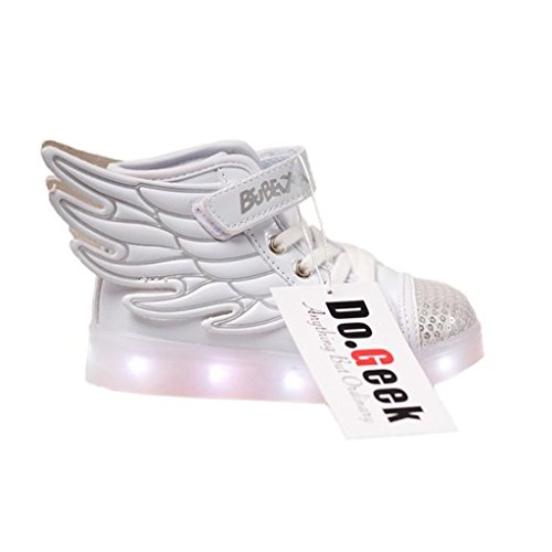 [DoGeek Toddler Girl Light Up Shoes Led Angel Wings Shoes Boy Girl Shining Shoes Tennis Led Trainers] (Light Up Angel Wings)