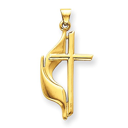 14k Gold Methodist Cross Pendant (14K Yellow Gold Methodist Cross Charm Pendant)