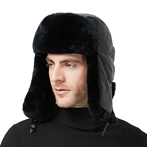 (IKEPOD Sheep Leather Aviator Russian Ushanka Ear Flap Winter Rabbit Fur Trapper Hat)