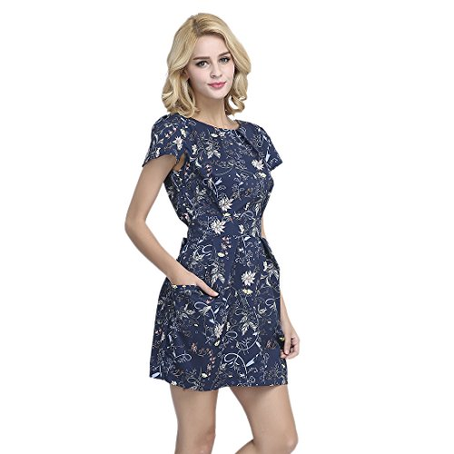 FCLM Women's Short Sleeve Slim Casual Party Dress With Belt Above Knee M Blue (Above Knee Dress)