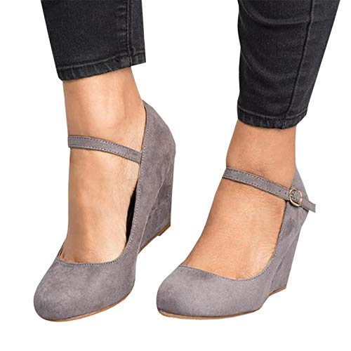 (Syktkmx Womens Mary Jane Wedges Pumps Ankle Strap Closed Toe Heeled Walking Work Shoes (8M US, Grey))