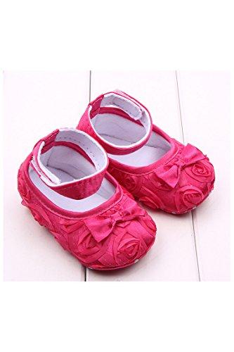 Zapatos - TOOGOO(R)zapatos comodos de nino pequeno de princesa antideslizantes(0-6 meses, rojo de rosa)