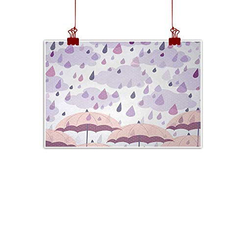 (Sunset glow Fabric Cloth Rolled Autunm,Abstract Double Exposure Umbrella Parasol Motifs on Nostalgic Polka Dots Backdrop,Lilac Pink 48