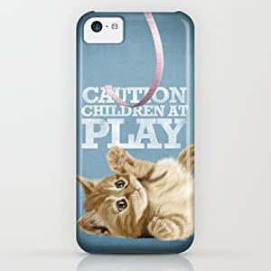 Society6 - A Funny Baby Cat Playing With A Pink Ribbon - Caut¡ iPhone & iPod Case by Roberta Jean Pharelli