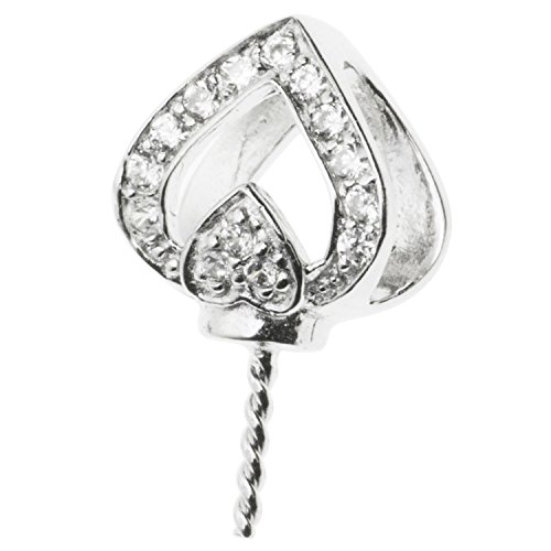 (925 Sterling Silver Spade Heart Cz Crystal Bail Screwed Pin Pendant Connector Slide)