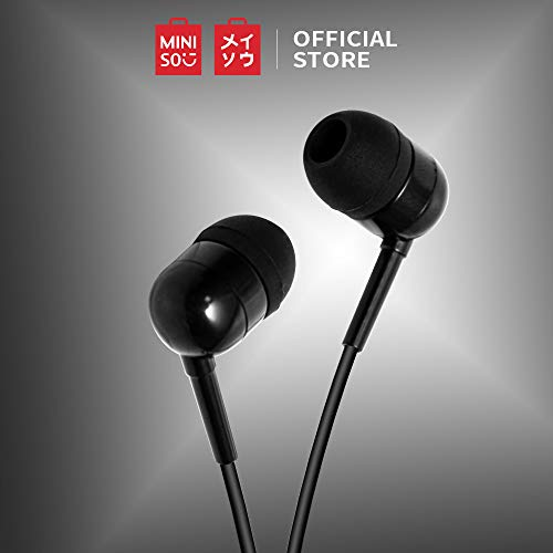 MINISO Colorful Music Earphone in-Ear Headphones with Microphone, Comfortable Earbuds Cute Earphones for Mobile Smartphones, Black