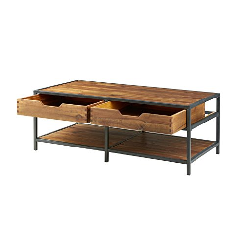 Modern Rustic Industrial Wood and Metal Accent Coffee Table