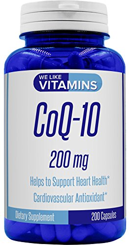 CoQ10 200mg 200 Capsules Max Strength Best Value CoQ-10 - Antioxidant Co Q-10 Coenzyme for a Healthy Heart