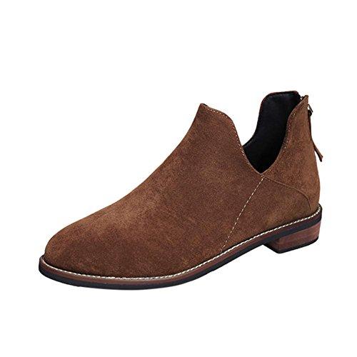 Creazy女性用バックルレディースフェイクZipソリッド暖かいブーツアンクルブーツマーティン靴