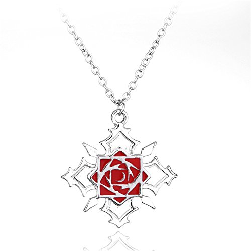 Pretty and Versatile Hot Anime Vampire Knight Rose Pendant Necklace Alloy Metal Necklace Women Sweater Chain Jewelry Silver -