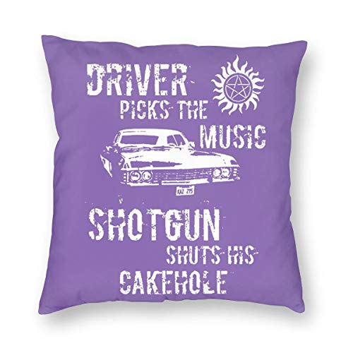 Supernatural Driver Picks The Music Square Throw Cushion Cover Case, Decoration Cotton Velvet Pillow Shams with Hidden Zipper for Living Room Sofa Bedroom Car Couch 18
