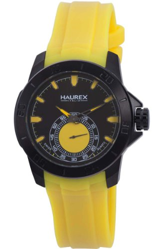 Haurex Italy Men's 3N503UYY Acros Black Ion-Plated Coated Stainless Steel Yellow Rubber Strap Watch ()