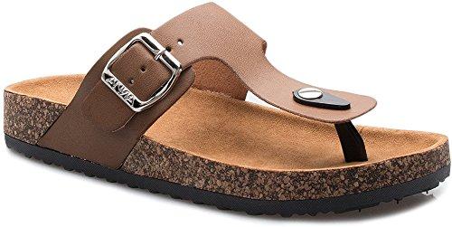 ShoBeautiful Women's Slide Sandal Thong Slip On Flip Flop Toe Loop Cork Buckle Faux Leather Beach Casual Platform Flat Shoes GR200 Chestnut 8.5 - Leather Rubber Sole Flip Flops