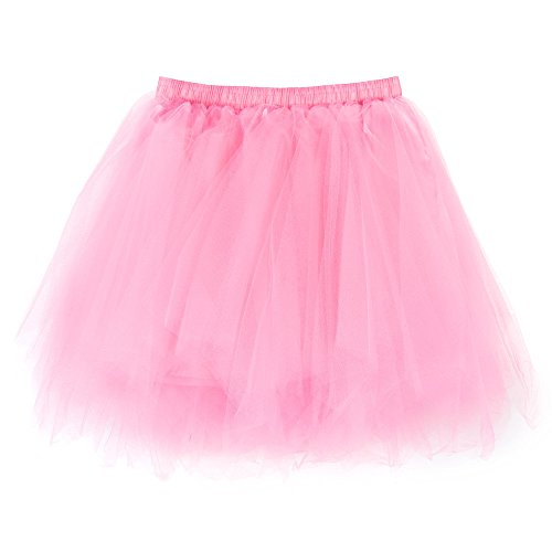 NUWFOR Women's1950s Vintage Ballet Bubble Skirt Tulle Petticoat Puffy Tutu?Pink?One Size? by NUWFOR (Image #4)
