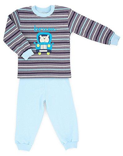 MAKOMA Baby Jungen Pyjama Schlafanzug 2 teilig aus Langarmshirt und Hose (80 - 104) (86, Brum)