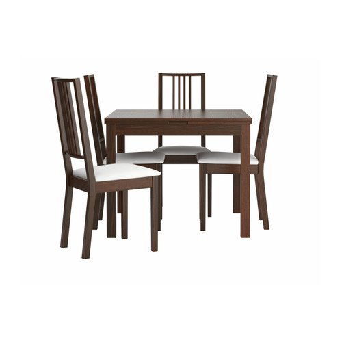 Ikea Table and 4 chairs, brown, Gobo white 142018.261717.1422