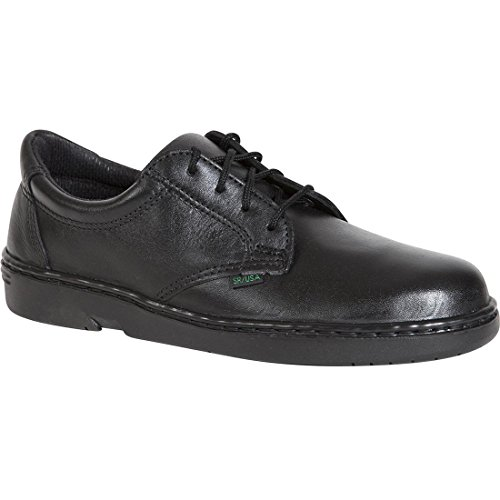 Approved Postal Oxford (Rocky Womens Black Leather US Postal Plain Toe Flat Sole Oxford Shoes 8 M)