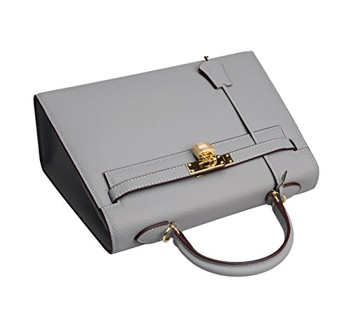 Purse 32cm Blue Bag Women's Satchel Shoulder Ainifeel Handbags Padlock Grey Hobo SwYqf