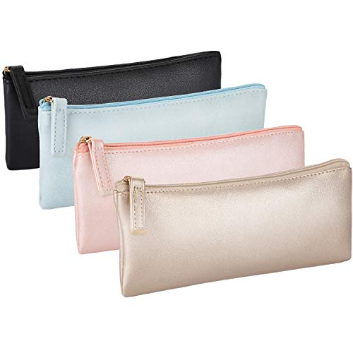4 Pieces PU Leather Pencil Cases Makeup Pouch Zipper Pencil Bags Cosmetic Pouch for Stationary Makeup Small Items