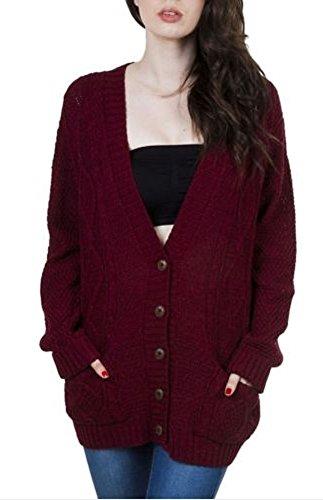 OgLuxe Women's Long Sleeve Cable Knit Cardigan (M/L (UK 12-14 EU 40-42 US 8-10), Wine) ()