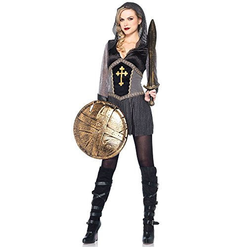 [Leg Avenue Women's Joan Of Arc Costume, Black/Silver, Medium] (Joan Of Arc Costume Halloween)