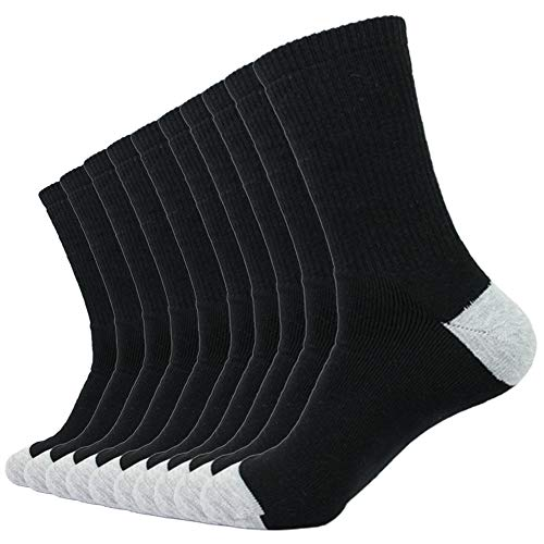 Enerwear 10P Pack Men's Cotton Moisture Wicking Extra Heavy Cushion Crew Socks (10-13/shoe size 6-12, Black) (Socks Cotton Sports)