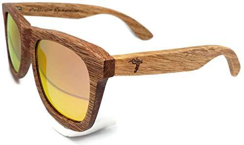 4fea0158ae Wooden Polarized Sunglasses - Handmade Solid Real Dumu Wood Wayfarer Style  w Bamboo Case - 100% UV Protection - for Men and Women by Pelican Sunwear  ...