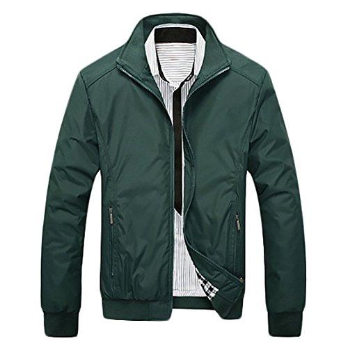 Front Slim Solid Pocket Coats Jackets Windbreaker Fit Mens Zip Zip Outdoor Green MU2M qtwXBAx