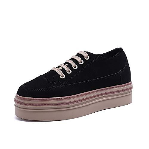 Mujer ZHZNVX Black otoño de Almond Zapatos Round de Deporte para Zapatillas Black Confort de Creepers PU Poliuretano Toe IZZqwr