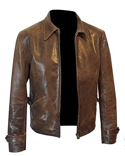 Distressed Brown Leather Jacket Men - Vintage Slim Fit Genuine Leather Jacket