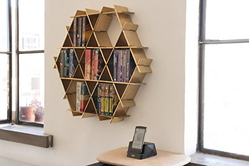 Hexagon Floating Shelves, Hanging Bookshelf, Living Room Storage, Small Bookshelf - Ruche Shelving Unit Medium- Gold finish